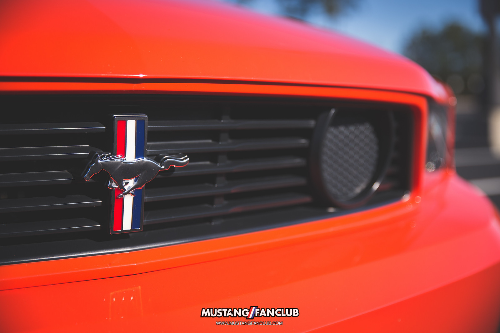 2012 12 ford mustang fan club competition orange boss 302 front grille grill tri bar pony fog light delete