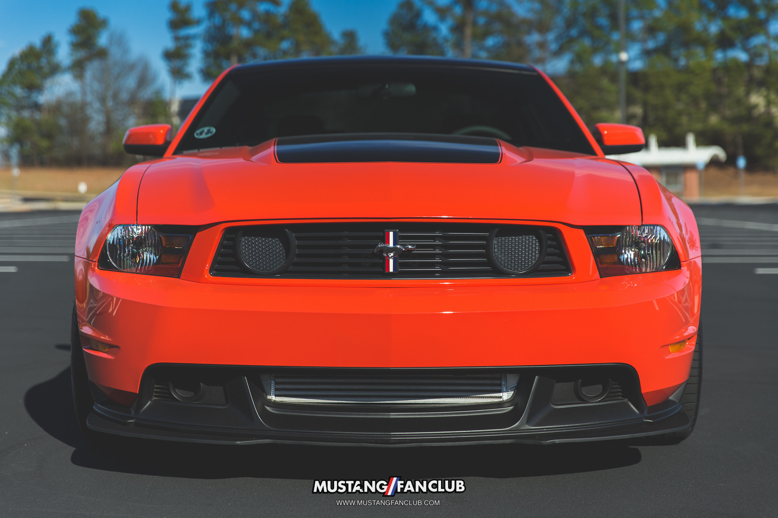 2012 12 competition orange boss 302 compoh comp oh georgia regional mustang club ga front end chin splitter front fascia hood