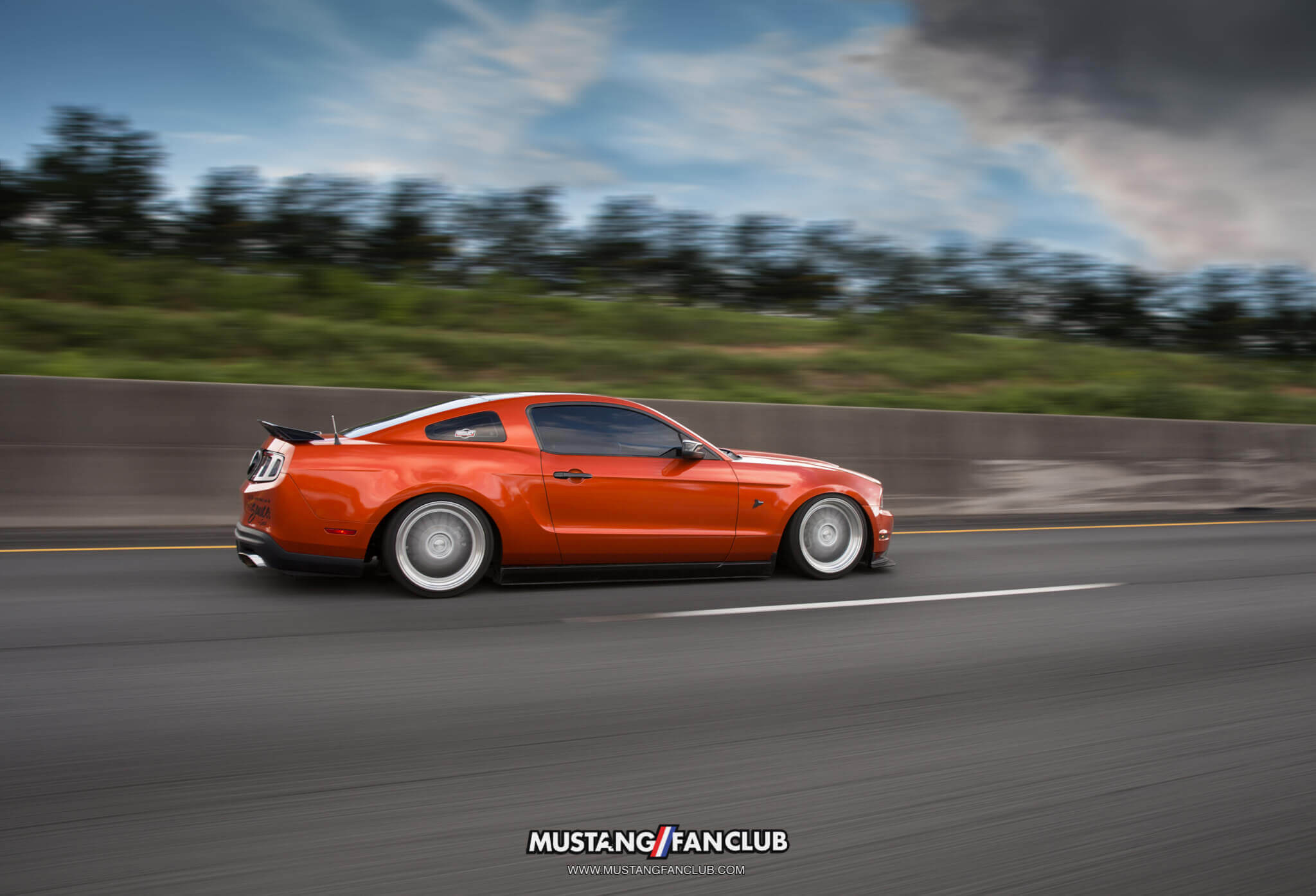 mustang fan club mustangfanclub @mustangfanclub 2011 11 mustang coyote 5.0L 5.0 wrapped bagged air suspension air lift performance rotiform wheels dillon shand rolling shot S197 3m 1080 fiery orange