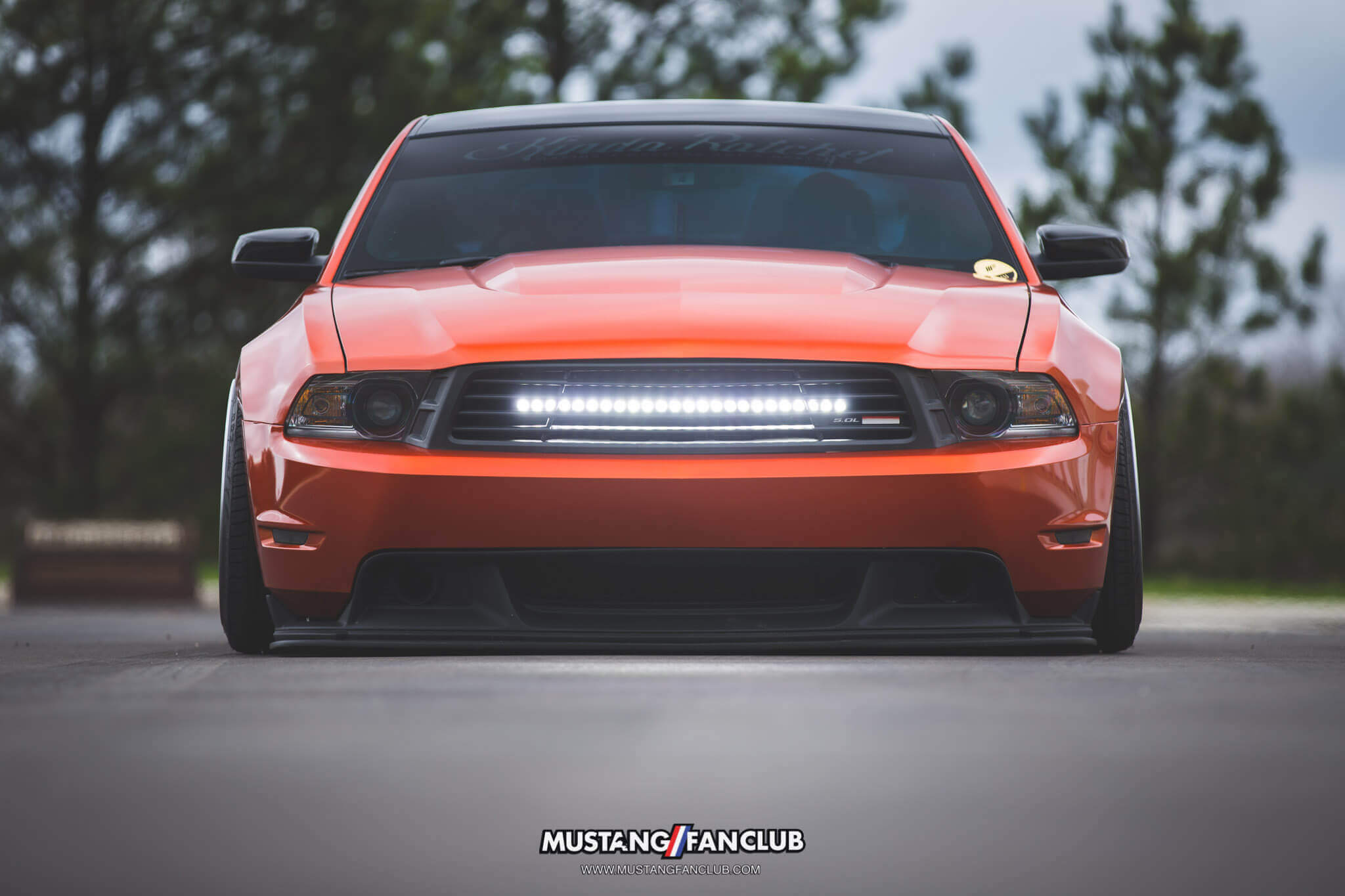 mustang fan club mustangfanclub @mustangfanclub 2011 11 mustang coyote 5.0L 5.0 wrapped bagged air suspension air lift performance rotiform wheels dillon shand RSE light bar s197 Saleen grill grille GT/CS gtcs front valence cervini 3m 1080 fiery orange