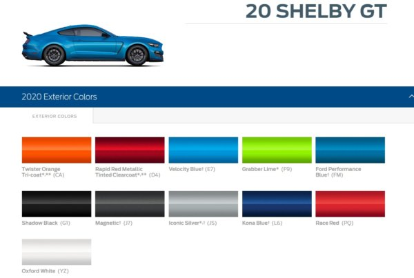 2020 Shelby GT500 Color Options