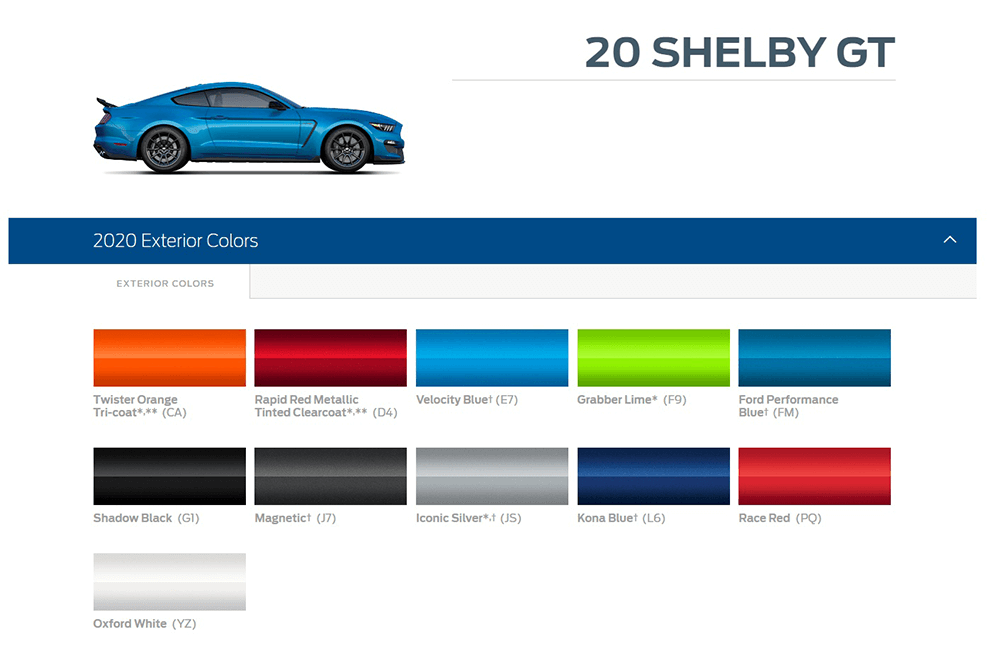 2020 GT500 Color Options