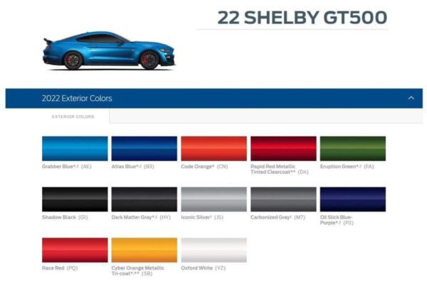 2022 Shelby GT500 exterior color options