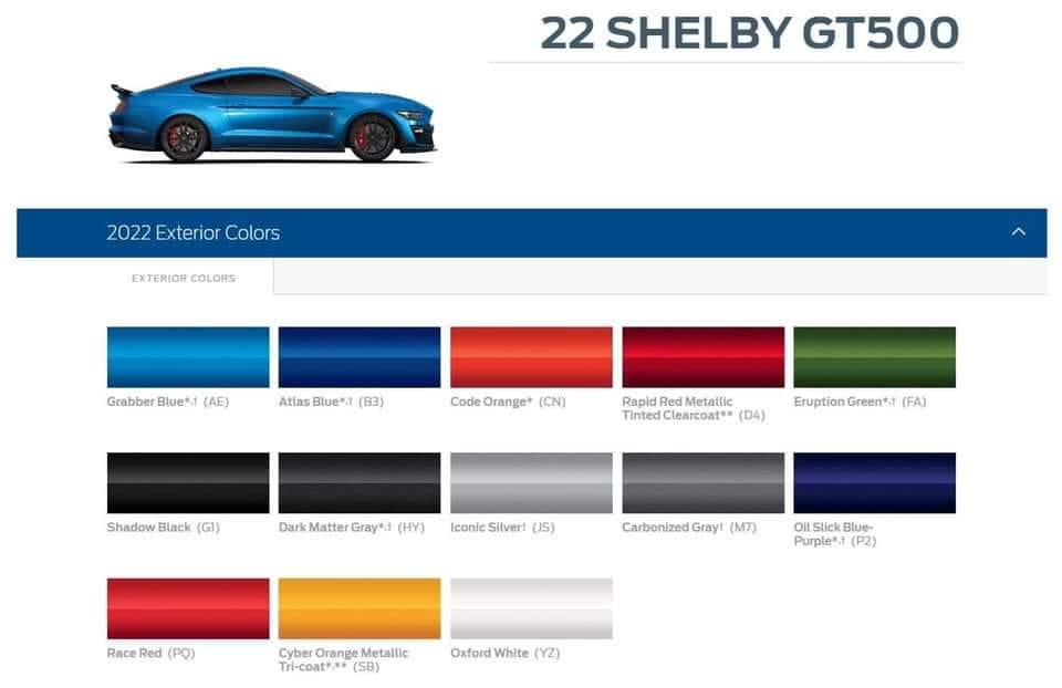 2022 Shelby GT500 Color Options