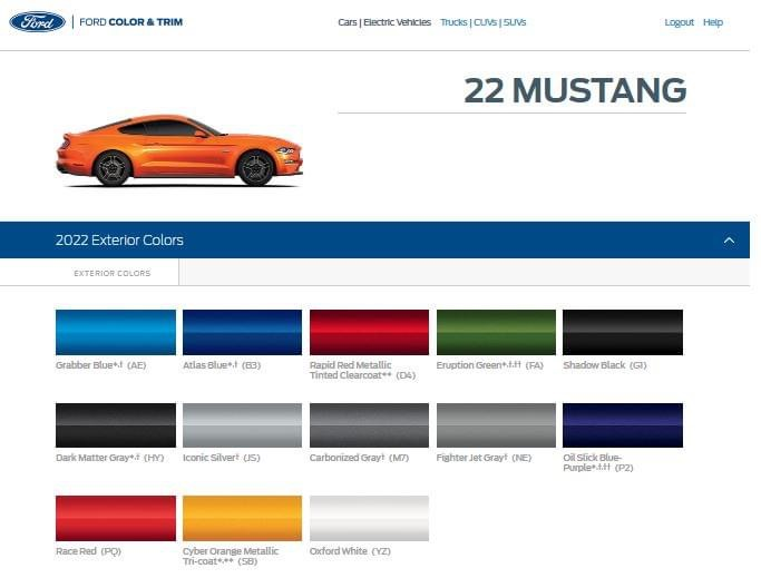 2022 Mustang Exterior Color Options